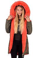 Модное зимнее пальто на девочку Игрушка размеры 38- 44 Тренд сезона цветной мех! Хаки оранж