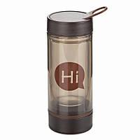 Бутылка для воды Hi со стеклянной колбой и отсеком для таблеток (коричневая)