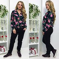 Спортивный костюм - кофта с цветочным принтом и черные брюки, ткань - дайвинг