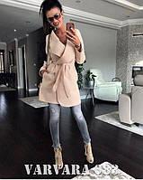 Женское стильное демисезонное пальто по колено с поясом. Ткань: кашемир. Размер: 42-44, 44-46.