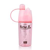 Бутылка для воды New B с распылителем и поилкой (400 мл) (розовая)