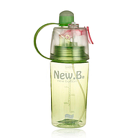 Бутылка для воды New B с распылителем и поилкой (400 мл) (зеленая)