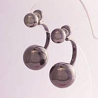 Серьги шары Диор скоба серый металлик