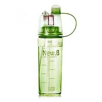 Бутылка для воды New B с распылителем и поилкой (600 мл) (зеленая)