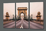 Картина модульная на кожзаме Цепной мост Сечени. Будапешт 70*90 см