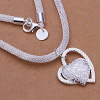 Подвеска Сердце на круглом шнуре 925 серебро