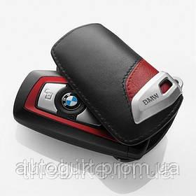Футляр для ключа BMW Key Holder Fob Leather Case Cover Sport Line Red