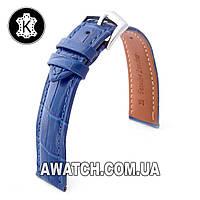 Ремешок кожаный Catfskin для наручных часов с классической застежкой, синий, 16 мм