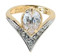"""Кольцо """"Фюрн"""" с фианитами, покрытое золотом с родием (r144q0a0) 18"""