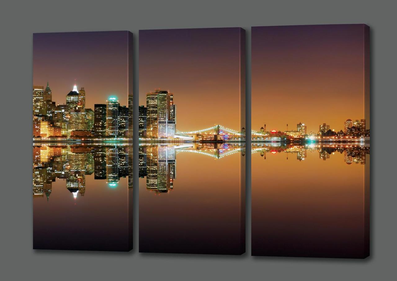 Модульная картина Ночной Нью Йорк.Бухта.Огни.Океан 124*70 см