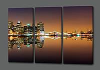 Модульная картина Ночной Нью Йорк.Бухта.Огни.Океан 90*70 см