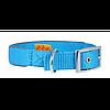 Ошейник COLLAR Dog Extremе двойной нейлоновый со светоотражающей вставкой 15мм/27-35см, 67022, голубой