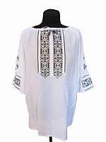 Блузка вышитая женская Зеленый гай (белая с зеленой вышивкой) (Женские и мужские вышиванки)