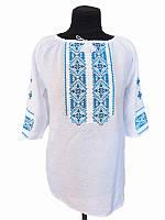 Блузка вышитая женская Снегопад (белая с голубой вышивкой) (Женские и мужские вышиванки)