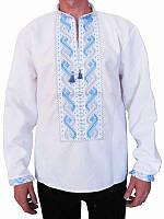 Рубашка вышитая мужская Небо (белая с серо-голубой вышивкой) (Женские и мужские вышиванки)