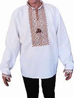 Рубашка вышитая мужская Воля (белая с коричневой вышивкой) (Женские и мужские вышиванки)