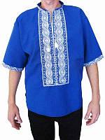 Рубашка вышитая мужская Днепр (синяя с бисером) (Женские и мужские вышиванки)