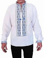 Рубашка вышитая мужская Земля (белая с серо-синей вышивкой) (Женские и мужские вышиванки)
