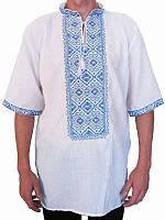 Рубашка вышитая мужская Океан (белая с голубой вышивкой) (Женские и мужские вышиванки)