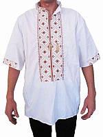 Рубашка вышитая мужская Осень (белая с оранжевой вышивкой) (Женские и мужские вышиванки)