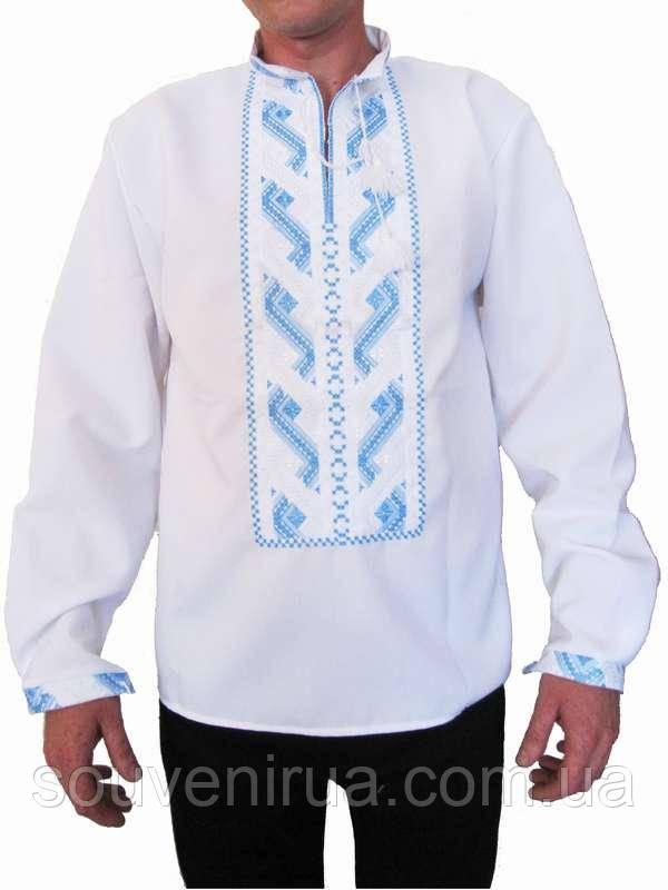 d895847fe70e Рубашка вышитая мужская Река (белая с бело-голубой вышивкой) (Женские и  мужские