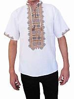 Рубашка вышитая мужская Рушник (белая с коричневой вышивкой) (Женские и мужские вышиванки)