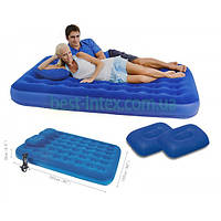 Bestway 67374 (203х152х22 см.) + насос и 2 подушки. Полуторный надувной матрас