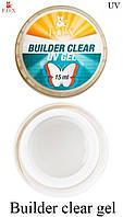 Гель F.O.X  строительный прозрачный ( F.O.X. UV Builder Gel Clear) 15 мл.