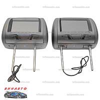 Комплект автомобильных подголовников с монитором Klyde Ultra 7725 HD Gray (пара) с USB, SD, цвет серый