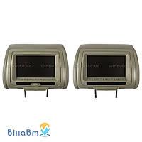 Комплект автомобильных подголовников с монитором Klyde Ultra 7745 HD Gray (пара) с DVD, USB, SD, цвет серый