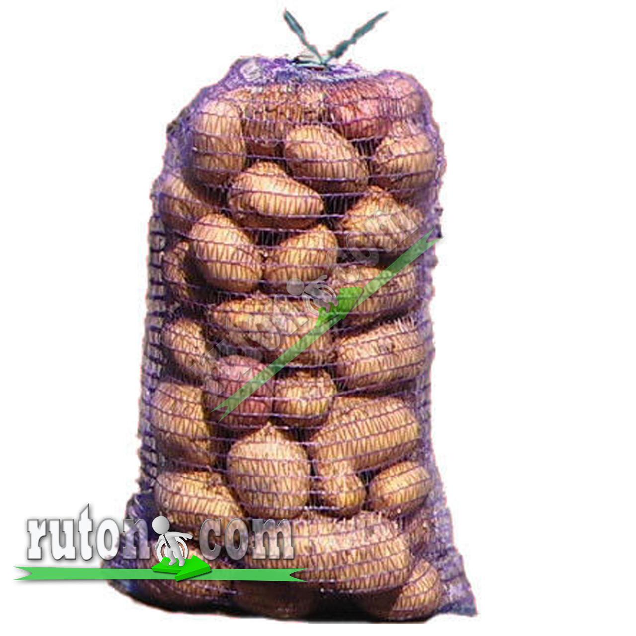 Сетка для овощей на 2 ведра 20 кг 40х60 см для лука, картошки, перца, морковки с верхней застежкой