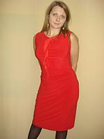 Платье трикотажное красное с перекрученным плечом