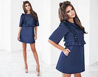Стильное короткое джинсовое женское платье с рюшиками