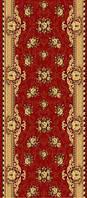 Ковровая дорожка Gold плетение с цветами - красный