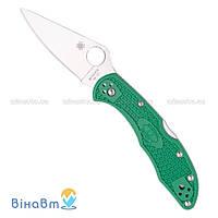 Нож Spyderco Delica 4 Flat Ground Green (C11FPGR)