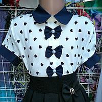 Блузка школьная для девочек с бантиками