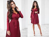 Стильное шелковое женское платье с запахом с длинным рукавом  + цвета