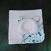 Плед 90×90 розовый + ортопедическая подушка для новорожденных, фото 1