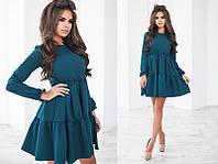 Красивое модное короткое женское молодежное платье с воланами с длинным рукавом +цвета