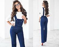 Женский повседневный костюм-двойка джинсовый комбинезон трикотажная блузка  +цвета