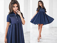Красивое модное джинсовое короткое женское молодежное платье с завышенной талией