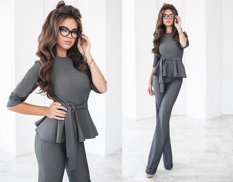 d9b3a9e32f5 ... Стильный женский брючный костюм двойка блузка с баской и с поясом  +цвета