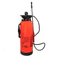 Ручной садовый помповый опрыскиватель для сада и огорода Pressure Sprayer 10 литров - цвет красный