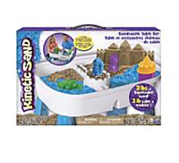Набор песка для детского творчества - KINETIC SAND TABLE (голубой,натур.,1360г, стол для игры,аксес)