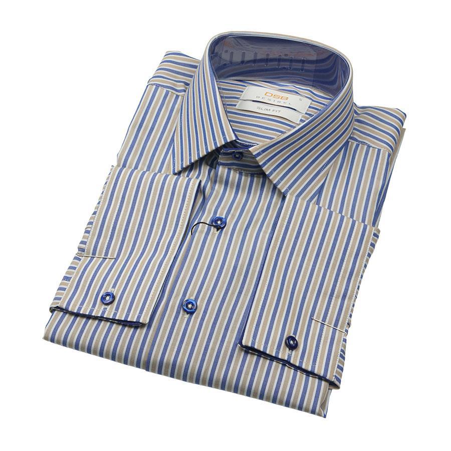 Приталенная рубашка с длинным рукавом размер M
