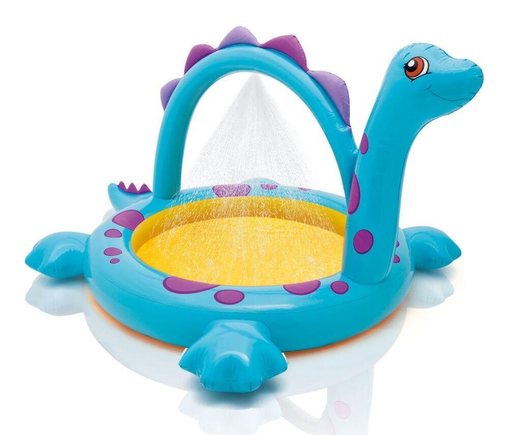 """Детский надувной бассейн Intex """"Динозаврик"""", с фонтаном, 229х165х117 cм  (57437)"""