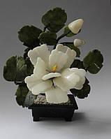 Пион-цветок богатства и славы(нефрит и змеевик)