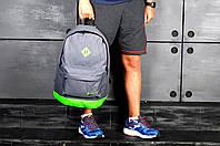 Рюкзак городской спортивный, для ноутбука, мужской, женский, серый-салатовый