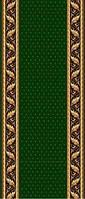 Ковровая дорожка Gold золотые листья и точки - зеленый