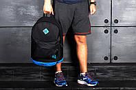 Рюкзак городской спортивный, для ноутбука, мужской, женский, черный-голубой